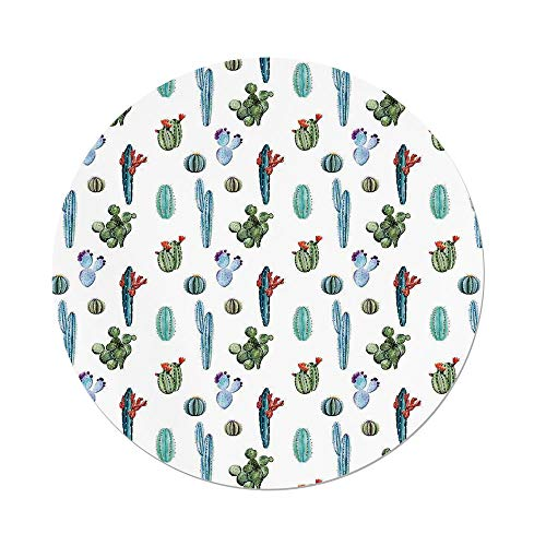 Polyester Round Tablecloth,Cactus Decor,Watercolor Cactus Plant Image Desert Hot Mexican Souh Nature Floral Print,Blue Green,Dining Room Kitchen Picnic Table Cloth Cover Outdoor Indoor by iPrint