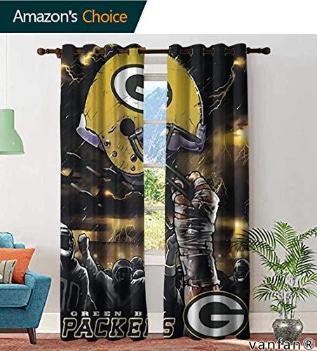 LQQBSTORAGE Custom Pattern Curtains Decoration Green Bay Packers NFL Sky Helmet Raschel Plush, Curtains for Sliding Glass Door, W72 x L84 Inch, (2 Panels) (Bay Curtains Window Packer Green)