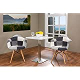 Baxton Studio Lia White and Black Patchwork Mid-Century Style Dining Chair (Set of 2)
