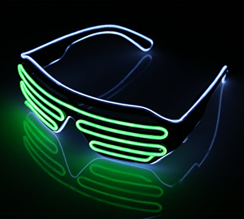 LED Light Up Glasses Sound Activated Shutter EL Wire Neon Glasses for Halloween Disco Bar Glowing Party Mask Decor ( White Frame + Green ) H090G
