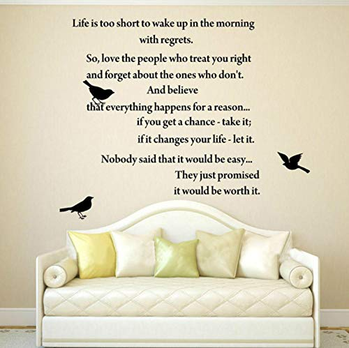 Pbldb Life is Too Short Inspirational Poems Wall Art Quote Decal Vinyl Lettering Words Lettering Home 53X57Cm -