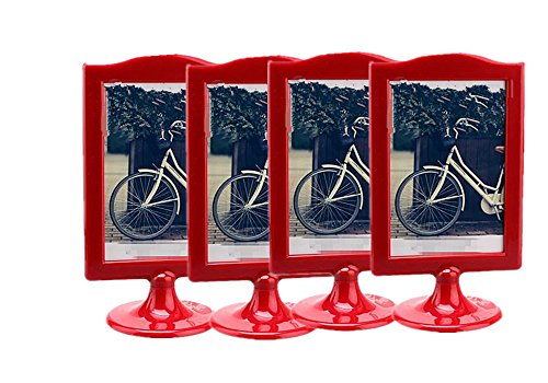 (Leoyoubei Vertical Stand Photo Frames menu Box Double Display 2 Photos 4x6, Specimen Framework,Price tag, Culture Card,Ornaments Exhibition, 4 Pack (red))