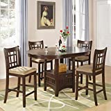 Coaster Home Furnishings Lavo 5 Piece Counter Height Dining Set with Table with Extension Leaf and 4 Chairs , in Dark Cherry