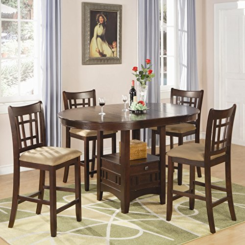 Cherry Counter Height Dining Table Set (Coaster Home Furnishings Lavo 5 Piece Counter Height Dining Set with Table with Extension Leaf and 4 Chairs , in Dark Cherry)