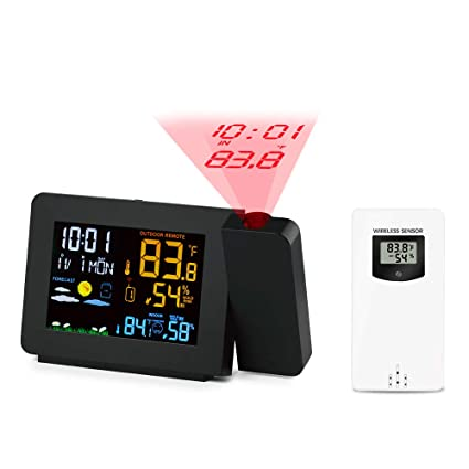Protmex Projection Alarm Clock Weather Station, PT3391 WWVB Radio  Controlled Clock Weather Monitor Indoor/Outdoor Thermometer, Dual Alarm  Clocks for
