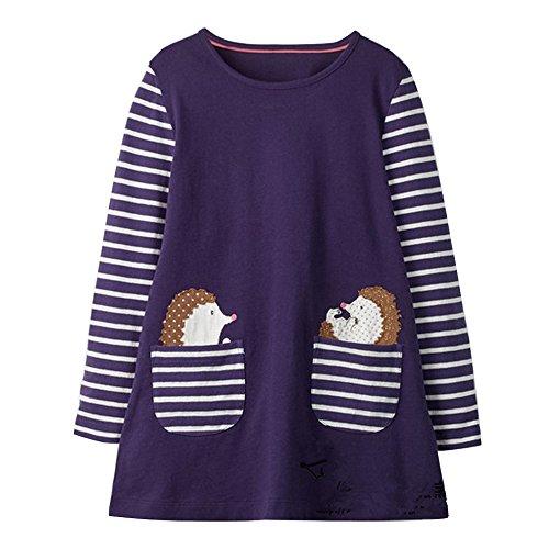 KIDSALON Little Girls Cotton Crewneck Cotton Dresses with Pocket (18M, Hedgehogs) -