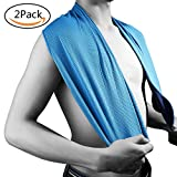 Cooling Towel,Soft Instant Cooling Ice Towel Keeps Body Temperature Lower for Quick Relief - Keep Cool for Fitness Gym Yoga Golf Football Basketball and All Other Sports (40-Inch,2pcs) (Blue)