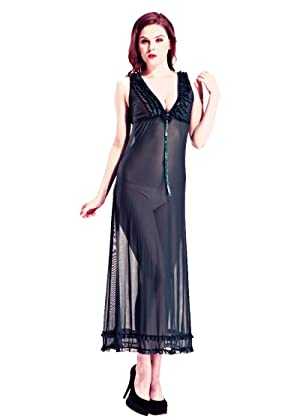 Honeystore Women's Sheer Deep V Neck Lingerie Gown Maxi Long Dress Night Robe