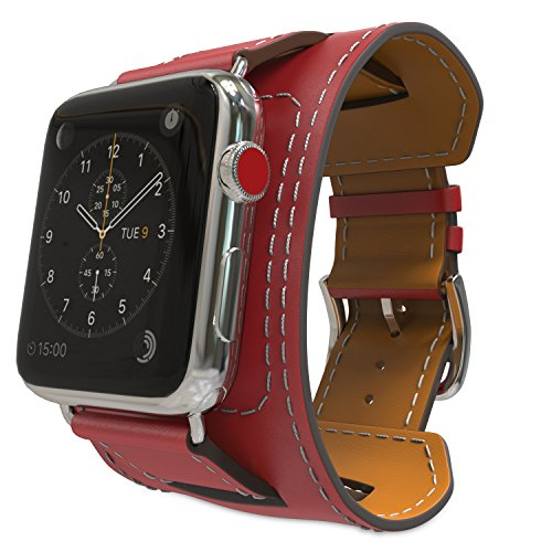 MoKo Compatible Band Replacement for Apple Watch 42mm 44mm Series 4/3/2/1, Genuine Leather Smart Watch Band Cuff Replacement Strap - RED (Not Fit 38mm 40mm Versions)