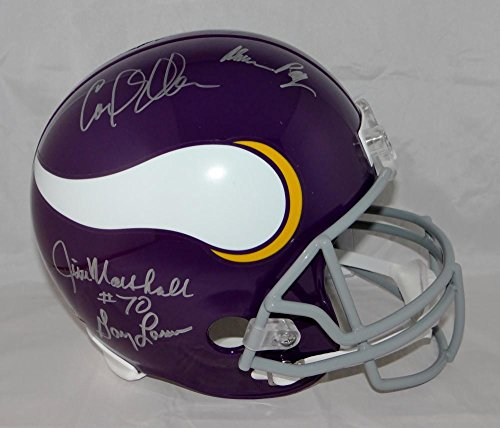 Marshall Minnesota Vikings Autographed Helmet (Purple People Eaters Autographed Minnesota Vikings Full Size Helmet- JSA Auth)