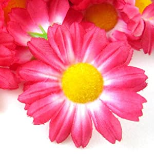 "(12) Silk Hot Pink Gerbera Daisy Flower Heads , Gerber Daisies - 1.75"" - Artificial Flowers Heads Fabric Floral Supplies Wholesale Lot for Wedding Flowers Accessories Make Bridal Hair Clips Headbands Dress 10"