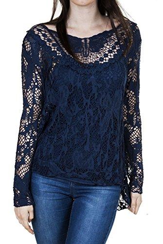 biHo® - Camiseta de manga larga - para mujer azul marino