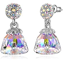 """Swarovski Element Earrings Lovely """"Angel Skirt"""" Drop Earrings with Swarovski Crystals, Clear & Gold, Birthday Gifts for Women, Valentines Fashion Gifts"""