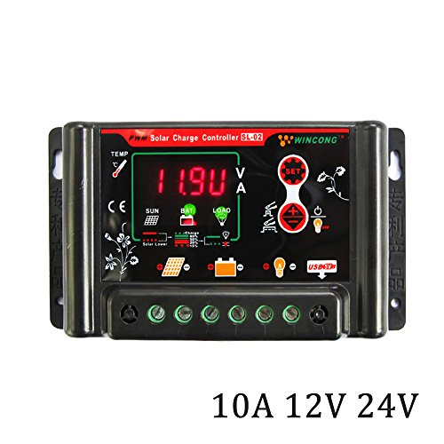 DPJ 10A 20A 30A 12V 24V 3.7V 12.8V 25.6V 11.1V 14.8V 22.2V LI LI-ION NI-MH LiFePO4 Battery Solar Panel Charge Controllers Regulator (10A) by DPJ