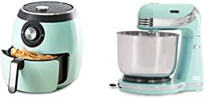 Dash DFAF455GBAQ01 Deluxe Electric Air Fryer + Oven Cooker, 6 Quart, 6 qt, Aqua & Stand Mixer (Electric Everyday Use): 6 Speed with Dough Hooks & Mixer Beaters, 3 qt Stainless Steel Mixing Bowl, Aqua