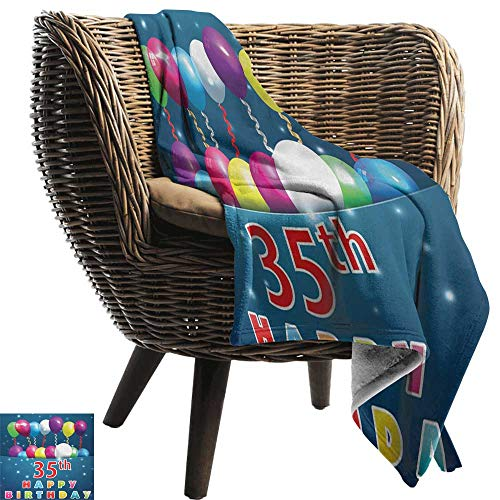 AndyTours Wearable Blanket,35th Birthday,Surprise Party for Thirty Five Years Old with Flying Balloons and Ribbons,Multicolor,Lightweight Microfiber,All Season for Couch or Bed 60
