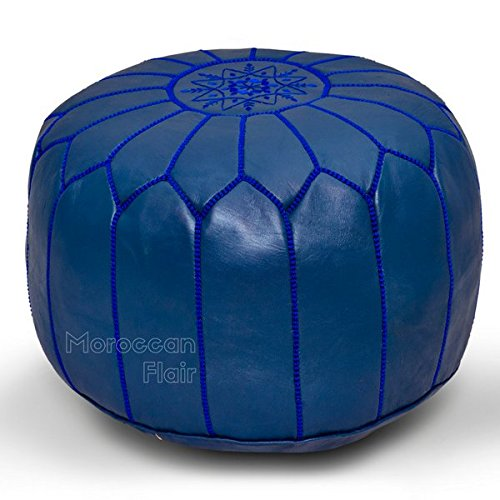 (Stuffed Handmade Genuine Leather Moroccan Pouf, Ottoman (Navy Blue))