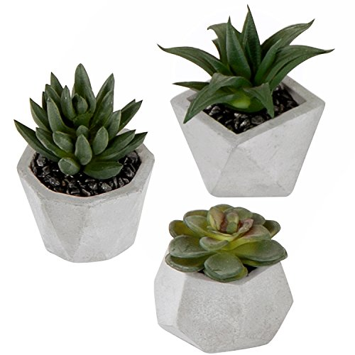 (MyGift Artificial Succulent Plants in Geometric Gray Planters, Set of 3)