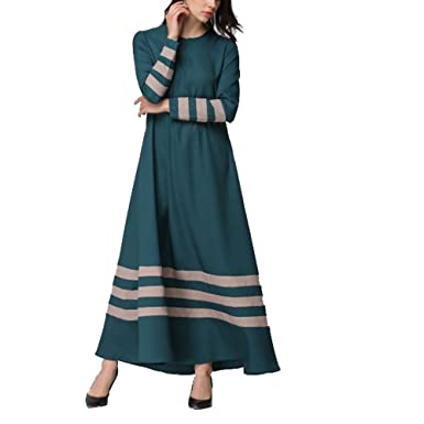 Muslimische Langarm Kleid Tunika Abaya Dubai Gestreifte Lang Kleider ...