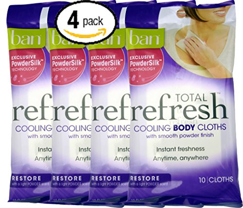 Bundle Pack of Four (4) Ban Total Refresh Cooling Body Cloths with Smooth PowderSilk Technology to Restore -- 10 Cloths Per Pack for 40 Total - Can Ban