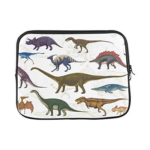 (Design Custom Dinosaur Cartoon Beast Ancient Times Jurassic Cute Color Design Sleeve Soft Laptop Case Bag Pouch Skin for MacBook Air 11