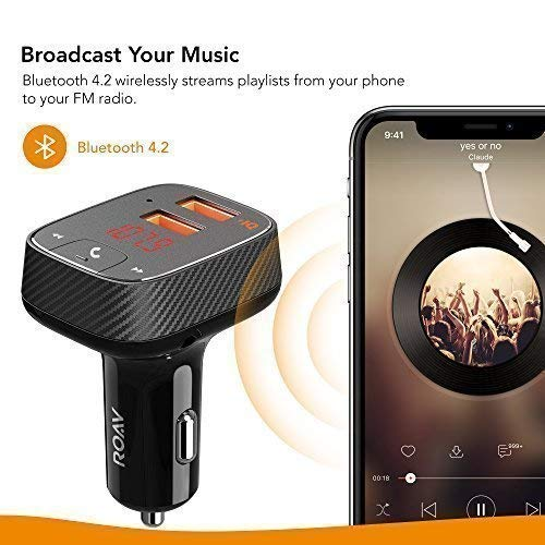Roav by Anker, SmartCharge F2 Bluetooth Receiver/FM Transmitter/Car Charger with Bluetooth 4.2, Car...