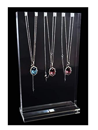 Necklace Display Stands Premium Grade Acrylic Transparent Modern Design Large Block Elegant Simple Style for Trade Show Store Home Gallery Exhibition Jewelry Show