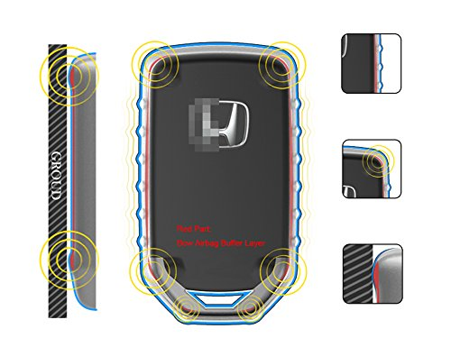QBUC Car Keyless Replacement Shell Electronic Cover With Extra Key Holder Hook for Honda (Gold) by QBUC (Image #6)