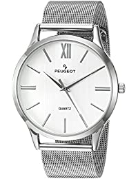 Men's 'Roman Numeral' Quartz Metal and Stainless Steel Dress Watch, Color:Silver-Toned (Model: 1052SSL)