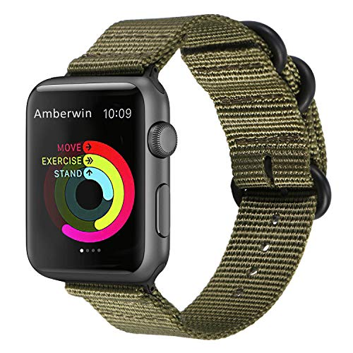 Amberwin Compatible for Apple Watch Band, Nylon NATO iWatch Band Replacement Strap for Apple Watch 42mm Series 3, Series 2 and Series 1 (Army, 42mm)