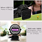 Clip on Fan Battery Operated Fan, USB or 2600mAh Rechargeable Battery Powered Small Desk Fan Whisper Quiet with 4 Speed Swivel 360° Portable Stroller Fan for Baby Stroller Home Office Camping, Black 11 【2018 Newest Upgraded Clip On Desk Fan】Ommani clip on fan optimized the fluid mechanics structure to make enhanced airflow but operate quieter. Sleek design with smoother fringe and more stable head that won't get loose easily, really a neat personal fan makes you cool. 【4 Speeds, Powerful Motor, Whisper Quiet】Preferably 4 speeds from breeze to strong wind for all your needs. Powerful brushless & rust-less copper-core motor makes strong wind up to 80ft/s like sticking your head out the window when you're on the freeway, while being more durable and quieter, minimal noise low to 30db, won't bother even your baby's sleep. 【USB or 2600mAh Rechargeable Battery Powered】Upgraded with the best quality rechargeable & replaceable battery, last 3 - 8 HOURS depends on the wind speed. It can work and charge at the same time by laptop, power bank or USB charger via the supplied micro USB cord, which saves your money and hassle of buying batteries.