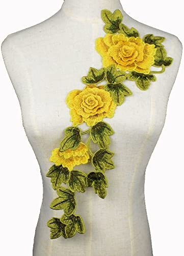 Iron-on Embroidered applique flower patch 10 pieces yellow /& green on black