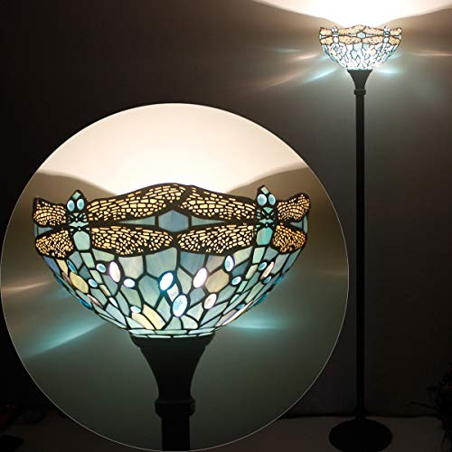 Tiffany Style Torchiere Light Floor Standing Lamp Wide 12 Tall 66 Inch Sea Blue Stained Glass Crystal Bead Dragonfly Lampshade for Living Room Bedroom Antique Table Set S147 WERFACTORY by WERFACTORY (Image #4)