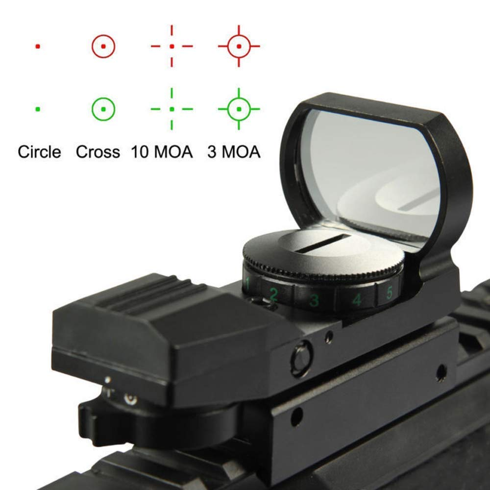 HERCHR Optical Sight Scope, For Gun Airsoft Pistol Red/Green Dot Holographic 1x22x33 CN, Black by HERCHR (Image #1)