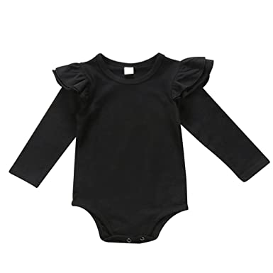 a03d9431e8d prelikes Baby Girls Long Sleeve Bodysuit Romper Ruffle Fly Sleeve Jumpsuit  Playsuit Outfits  Amazon.co.uk  Clothing