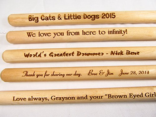 Personalized Custom Laser Engraved Pair Wooden Drumsticks 5A - Drum Sticks Wood Tips, Gift for Musicians Drummers