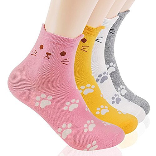 Womens Cute Animal Painting Socks,Crazy and Funny Cotton Sock for women One Size Fits All (Cats Foot Print 4 Sets) ()