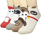 JJMax Women's Sweet Animal Socks Set with Thick Eared Cuffs One Size Fits All (4 Love Cats)