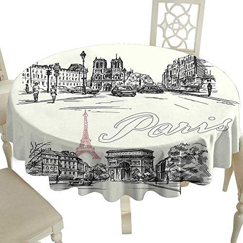 Cranekey Plaid Round Tablecloth 54 Inch Paris Decor,Arch of Triumph Restaurant Monument Old Fashioned Paris Street Sketch Style Art Great for,Party & More
