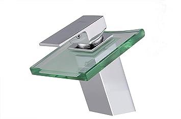 LED Wasserfall Einhandmischer Wasserhahn LED Bad Waschtisch Waschbecken Armatur