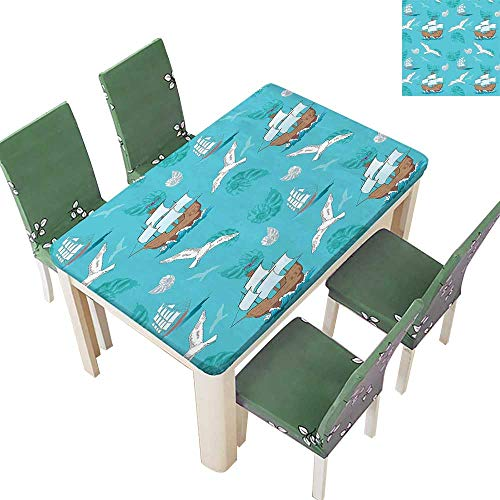 Printsonne Spring & Summer Outdoor Tablecloth, Sail Antique Ship Seashell Adventure Journey Fauna Seaman LIF Multicolor 54 x 120 Inch (Elastic Edge) ()
