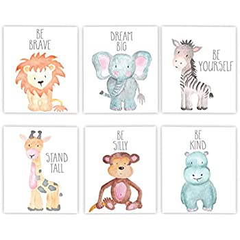 Adoren Studio Nursery Decor Nursery Art Baby Animal Wall Art Safari Theme Nursery Safari Animals Poster Prints Set of 6 Watercolor Animals Elephant Zebra ...