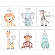 Nursery Decor Nursery Art Baby Animal Wall Art Safari Theme Nursery Safari Animals Poster Prints Set of 6 Watercolor Animals Elephant Zebra Giraffe Lion Hippo Monkey Prints