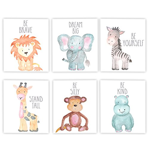 Adoren Studio Nursery Decor Nursery Art Baby Animal Wall Art Safari Theme Nursery Safari Animals Poster Prints Set of 6 Watercolor Animals Elephant Zebra Giraffe Lion Hippo Monkey Prints ()