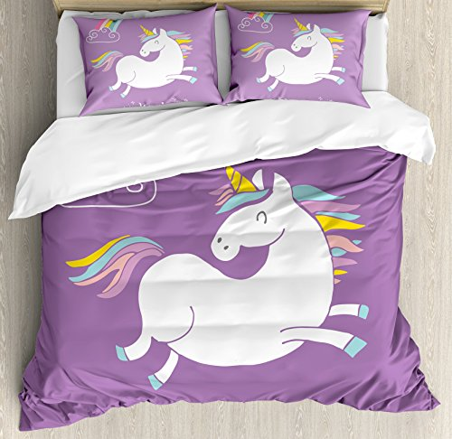 Unicorn Duvet Cover Set Queen Size by Ambesonne, Mythical Animal with Clouds and Rainbow Figure Fairy Cute Unicorn Image Print, Decorative 3 Piece Bedding Set with 2 Pillow Shams, Lavander White by Ambesonne