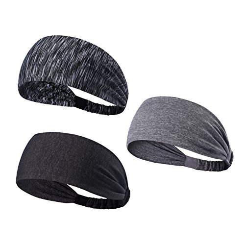 We Move Headbands for Men Women and Girls 3PCS/6PCS Stretchy Sweatband for Out Door Sports/Running/Yoga/Fitness/Cycling (3PCS-Stripe black/Deep gray/Light gray)