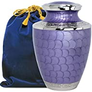 Eternal Peace Beautiful Lavender Adult Cremation Urn for Human Ashes - A Gorgeous Large Urn, Dazzling to See and Hold and Will Bring Comfort Every Time You See This Loving Urn - with Velvet Bag