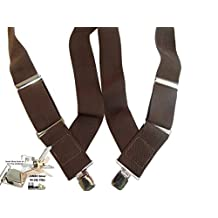 "2"" Wide HoldUp Hip-clip Trucker Style Suspenders (Brown)"
