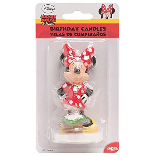 dekora 346028 Velas Grandes de Cumpleaños Minnie Mouse 8 Cm, Cera, Multicolor, 8
