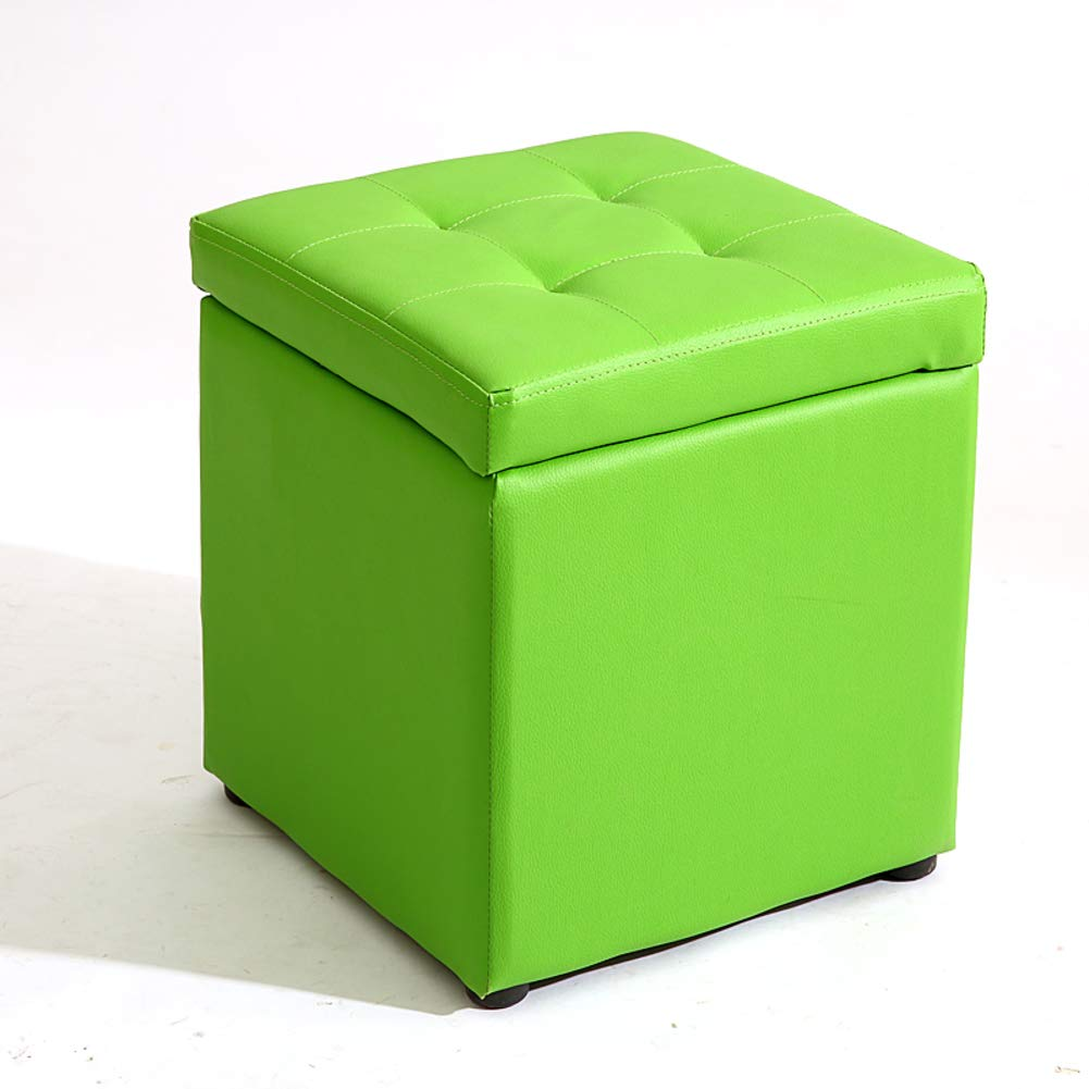 Green 30x30x35cm(12x12x14) Multi-Function Storage Stool, Square Solid color pu Storage Bench with flip Cover upholstered Storage -Black 30x30x35cm(12x12x14)